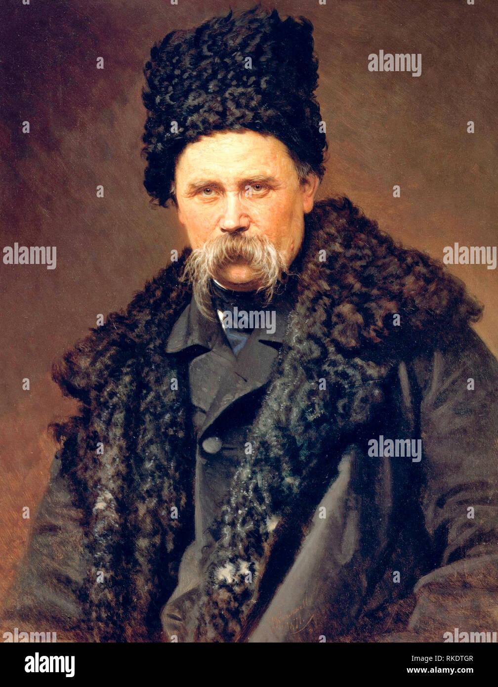 Portrait of Taras Shevchenko, Ukrainian poet and artist - Ivan Kramskoi, circa 1871 - Stock Image