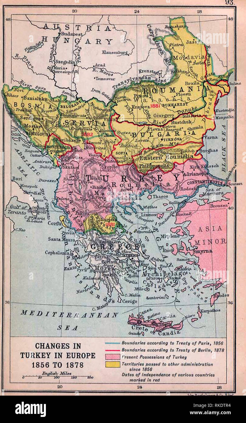 Map of Changes in Turkey in Europe 1856 to 1878 - Balkan changes after the Crimean War - Stock Image