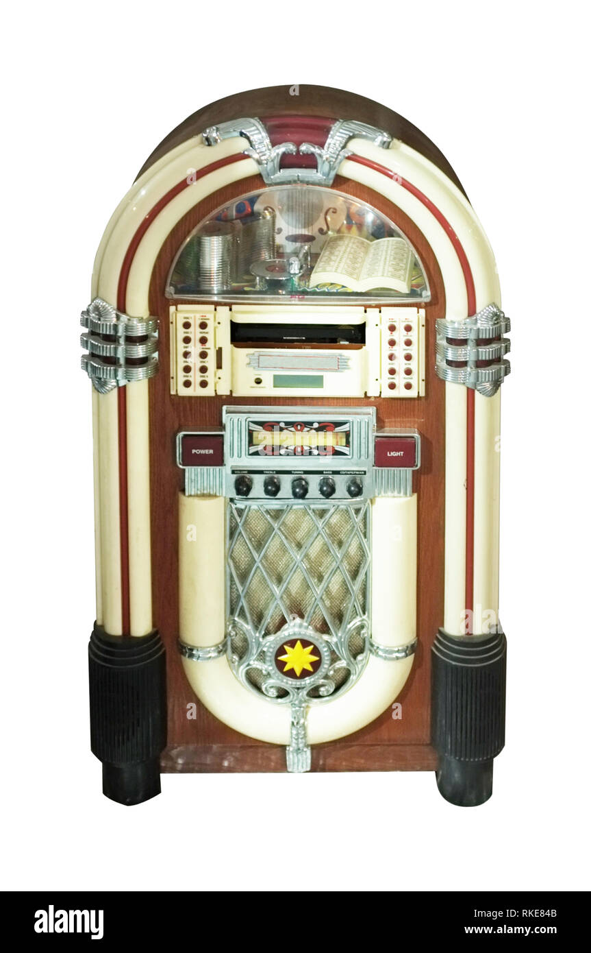 Old jukebox music player isolated on white background . Concept