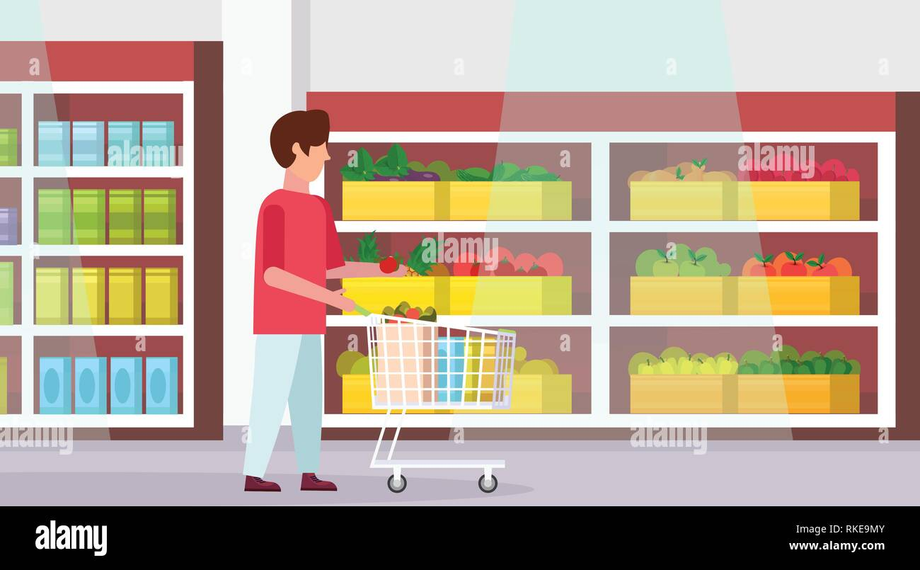 man carrying full trolley cart of food purchases big grocery shop supermarket interior male customer super market shopping concept full length flat - Stock Vector
