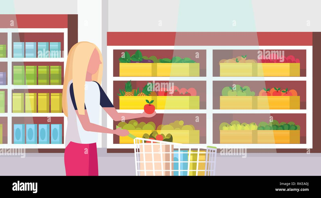 woman housewife carrying full trolley cart of food purchases big grocery shop supermarket interior female customer super market shopping concept - Stock Vector