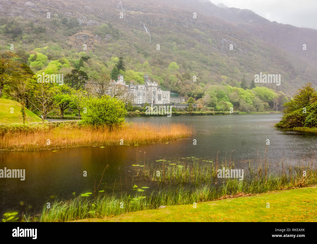 Kylemore Abbey in Connemara, a region in Ireland Stock Photo