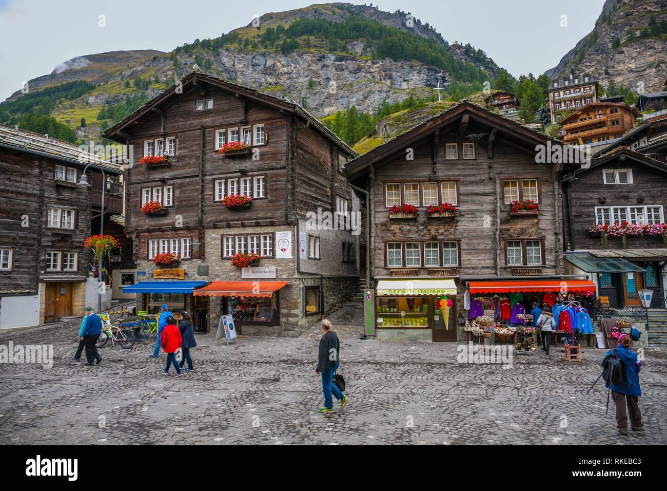 On the left Peter Taugwalders house (father and son.) They climbed Cervino mountain in the first ascent in 1865. Zermatt. Swiss Alps. Valais. - Stock Image