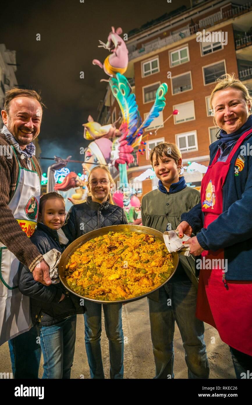Fallas festival. Paella contest. Paella, rice dish. Traditional Valencian food. Valencia. Valencian Community. Spain. - Stock Image