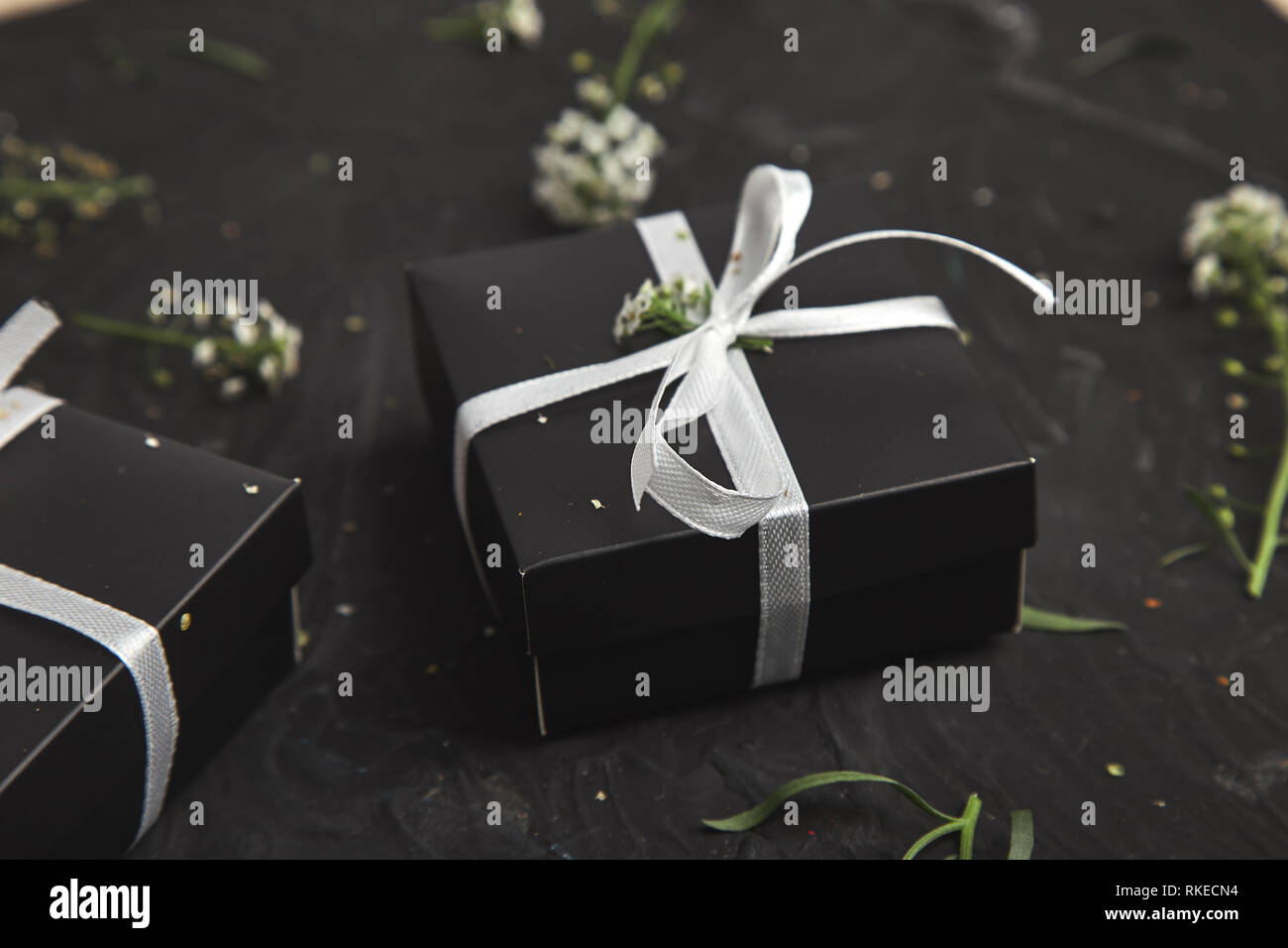 Wrapping Modern Christmas Or Birthday Gifts Presents Gift Boxes In