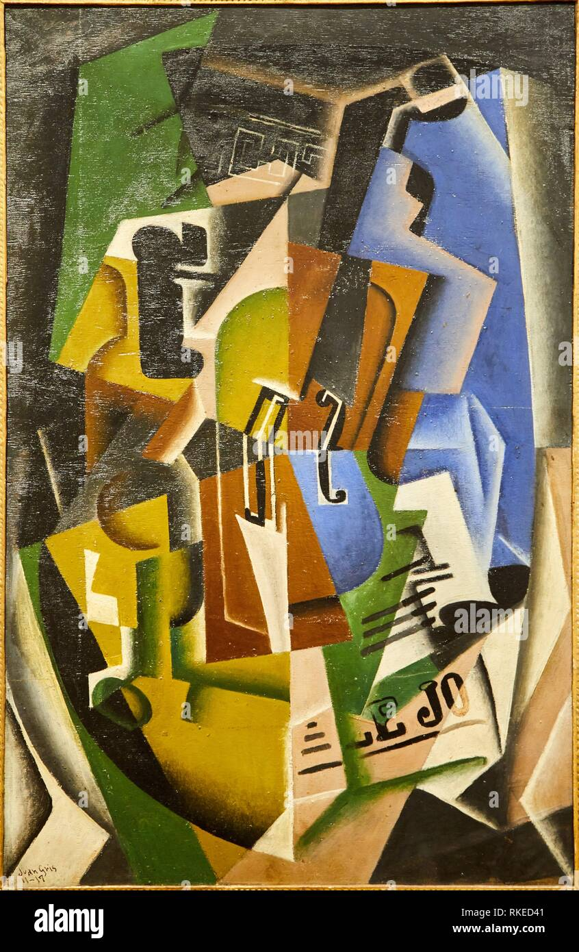 Juan Gris, Violon et journal, 1917, Alicia Koplowitz Collection, Museo de Bellas Artes, Fine Arts Museum, Bilbao, Bizkaia, Euskadi, Spain, Europe - Stock Image
