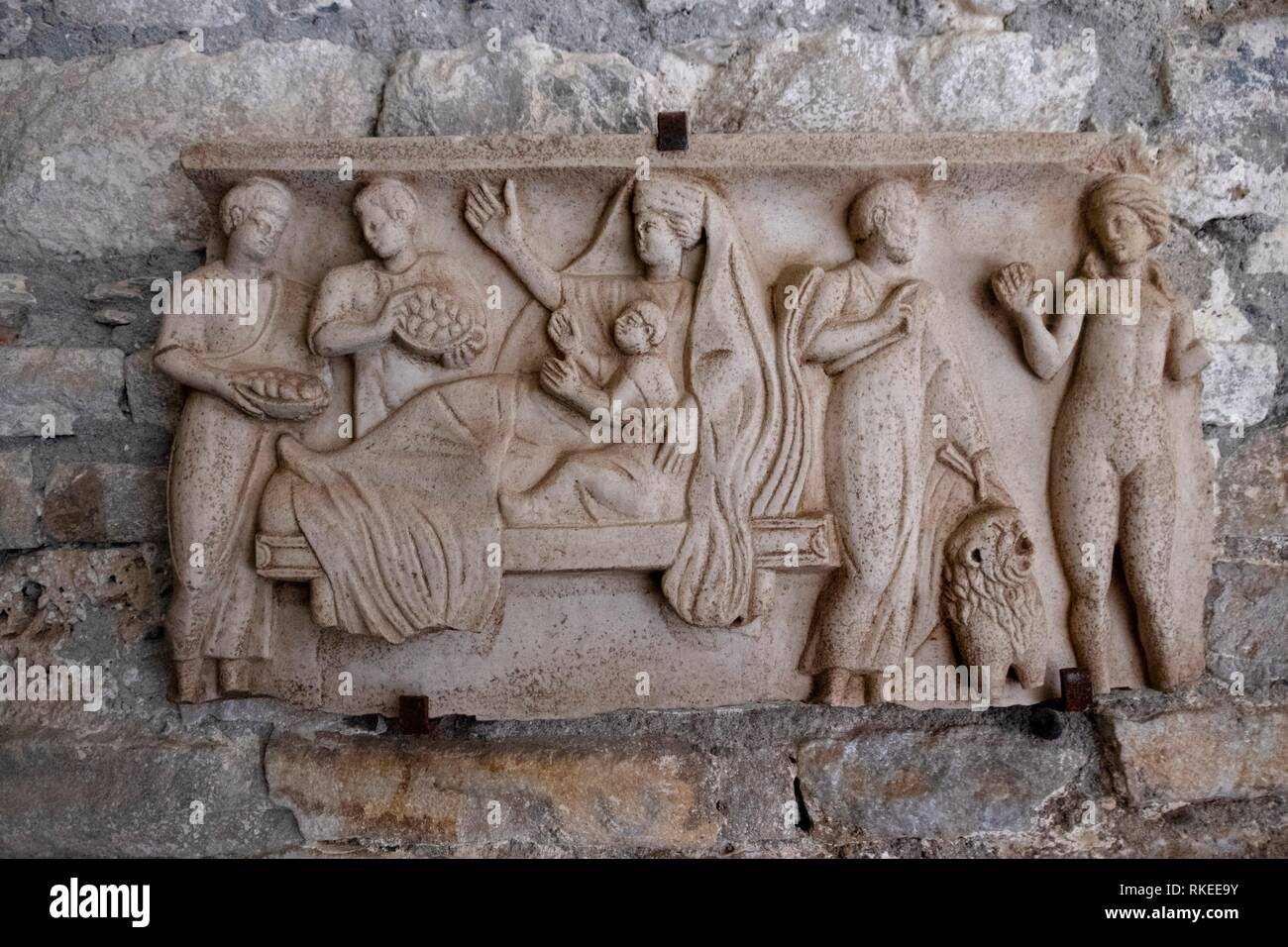 France. Occitanie, Haute Garonne, Goll ,roman plate (5th Century) at the Basilic Saint Just dee Valcabrère. - Stock Image