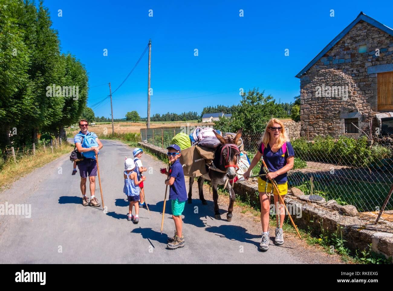 France, Occitanie, Lozére, Pilgrimage way to Santiago de Compostela, at La Chaze de Peyre, in the Aubrac area. - Stock Image