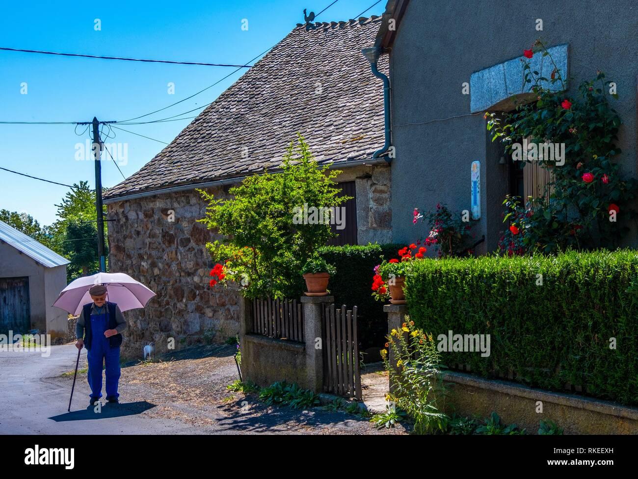 France, Occitanie, Lozére, at La Chaze de Peyre, in the Aubrac area. Pilgrimage way to Santiago de Compostela. - Stock Image