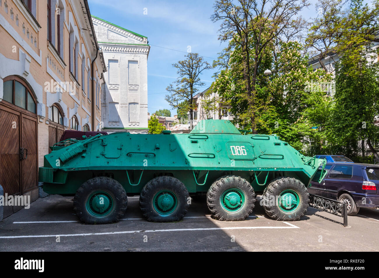 Kyiv, Ukraine - May 10, 2015: An armoured personnel carrier (APC) in front of the Ukrainian National Chornobyl Museum, dedicated to the 1986 Chernobyl - Stock Image