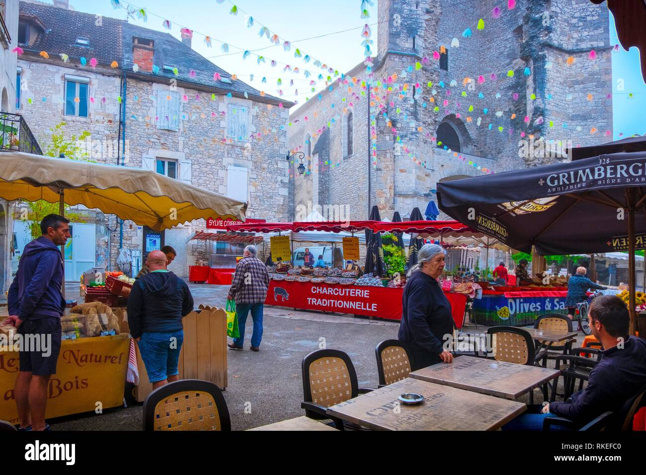 France, Occitanie, Lot, on the friday market at Souillac. - Stock Image