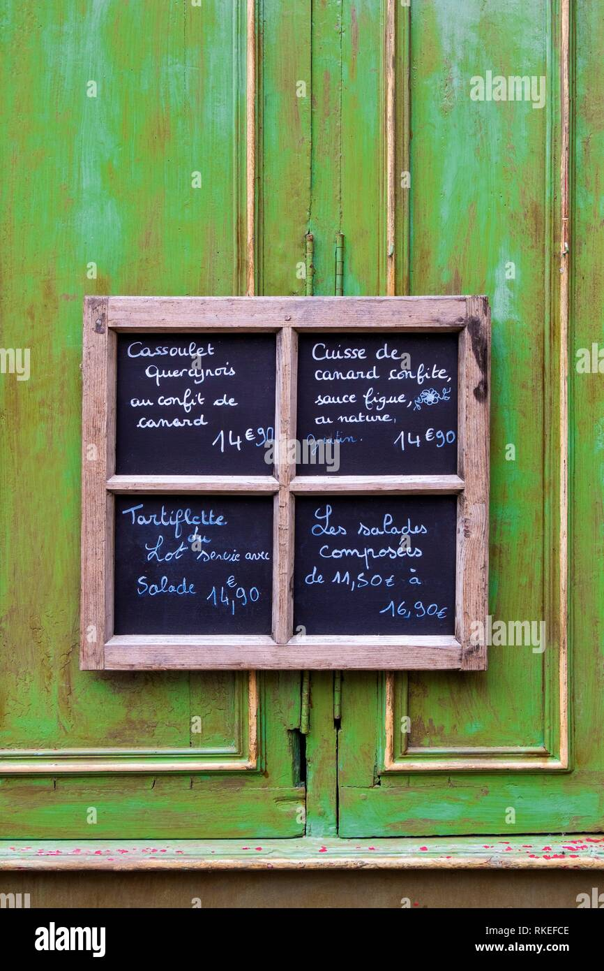 France, Occitanie, Lot, Menu sign at the old part of the medieval village of Martel. - Stock Image