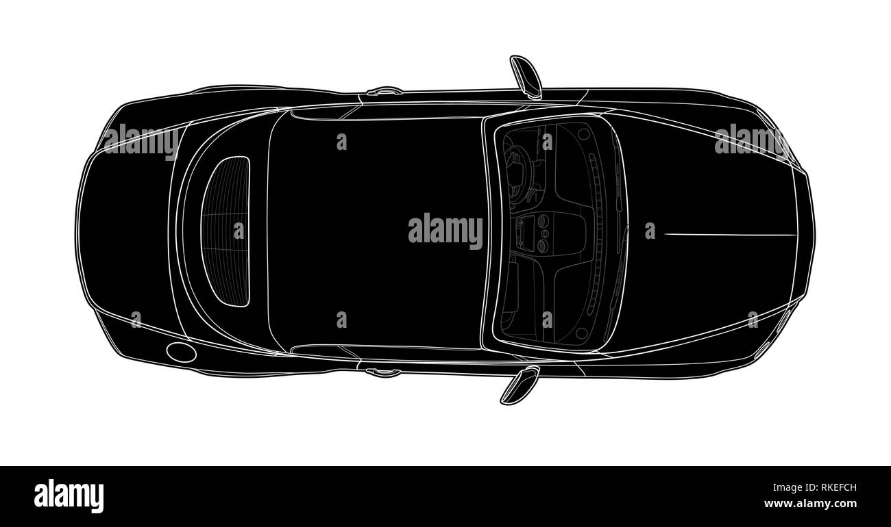 Car from top view vector. Flat design auto. - Stock Image