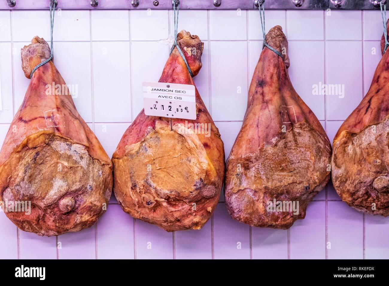 France. Food. ''Jambon sec '' (dry ham). - Stock Image