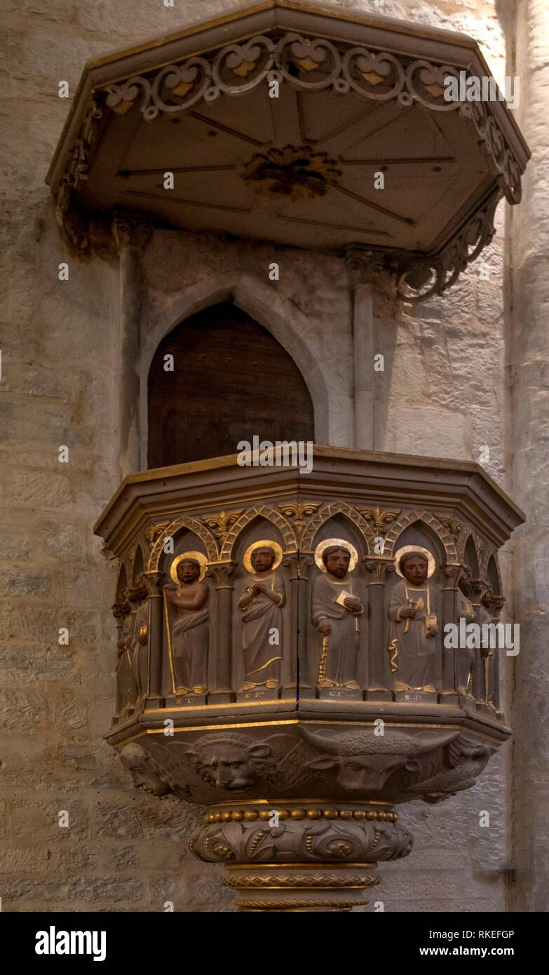 France, Occitanie, Lot, Chair (17th Century) in wood of the parish church at Salviac, - Stock Image