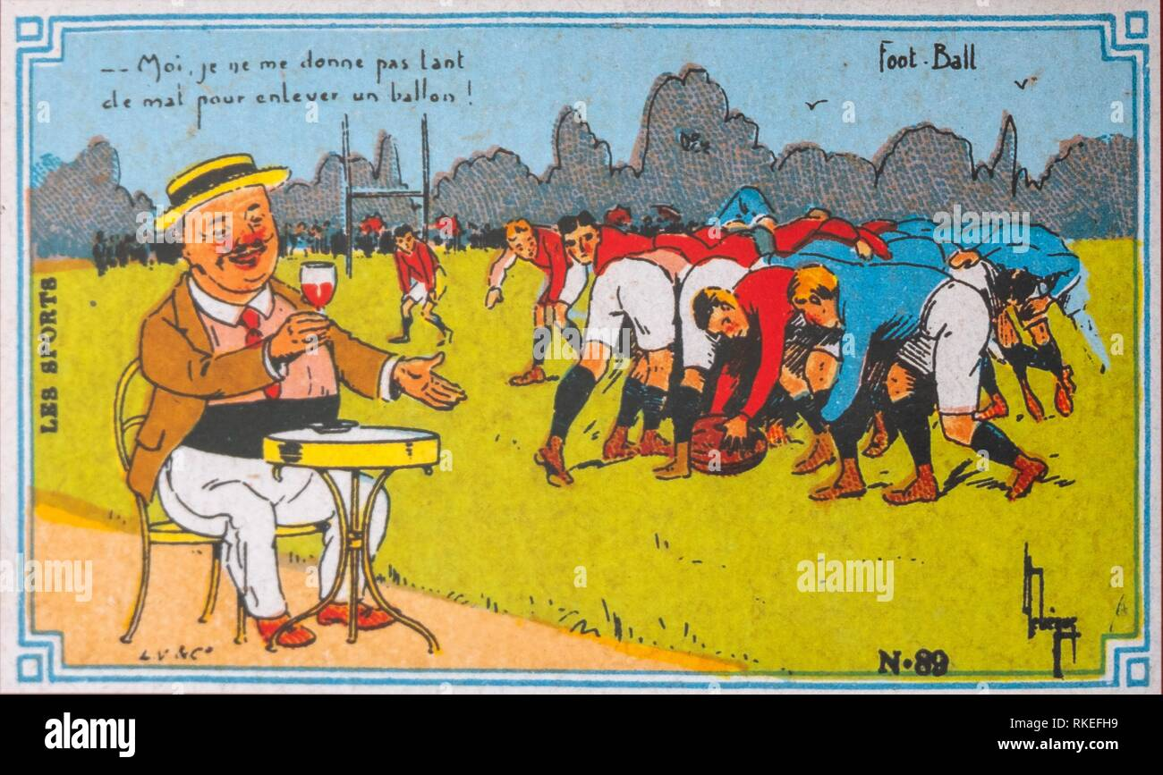 France, old postcard ,around 1910, about wine and rugby (still called Foot Ball). - Stock Image