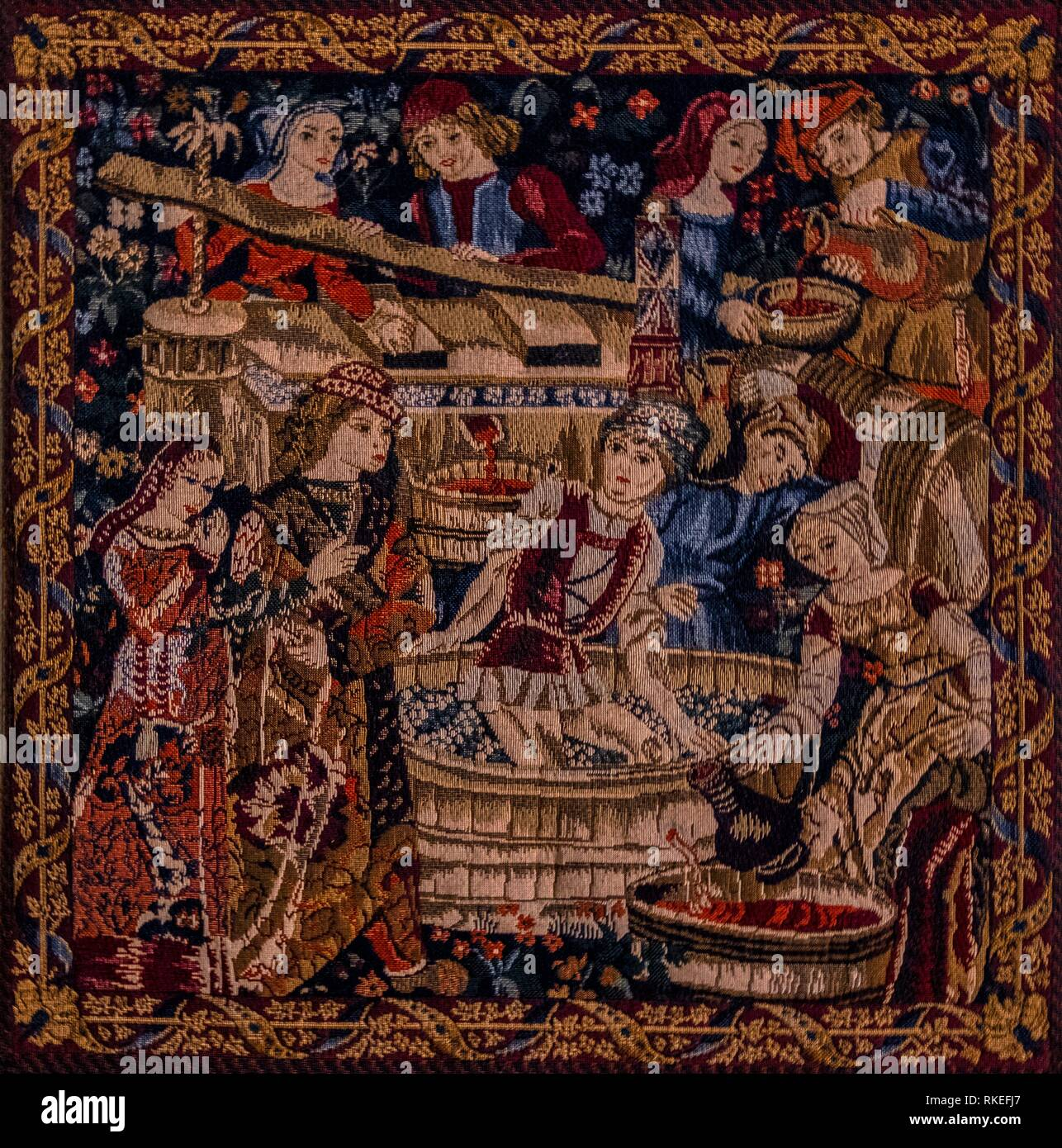 France, Carpet, 15th Century. representing the wine making. - Stock Image