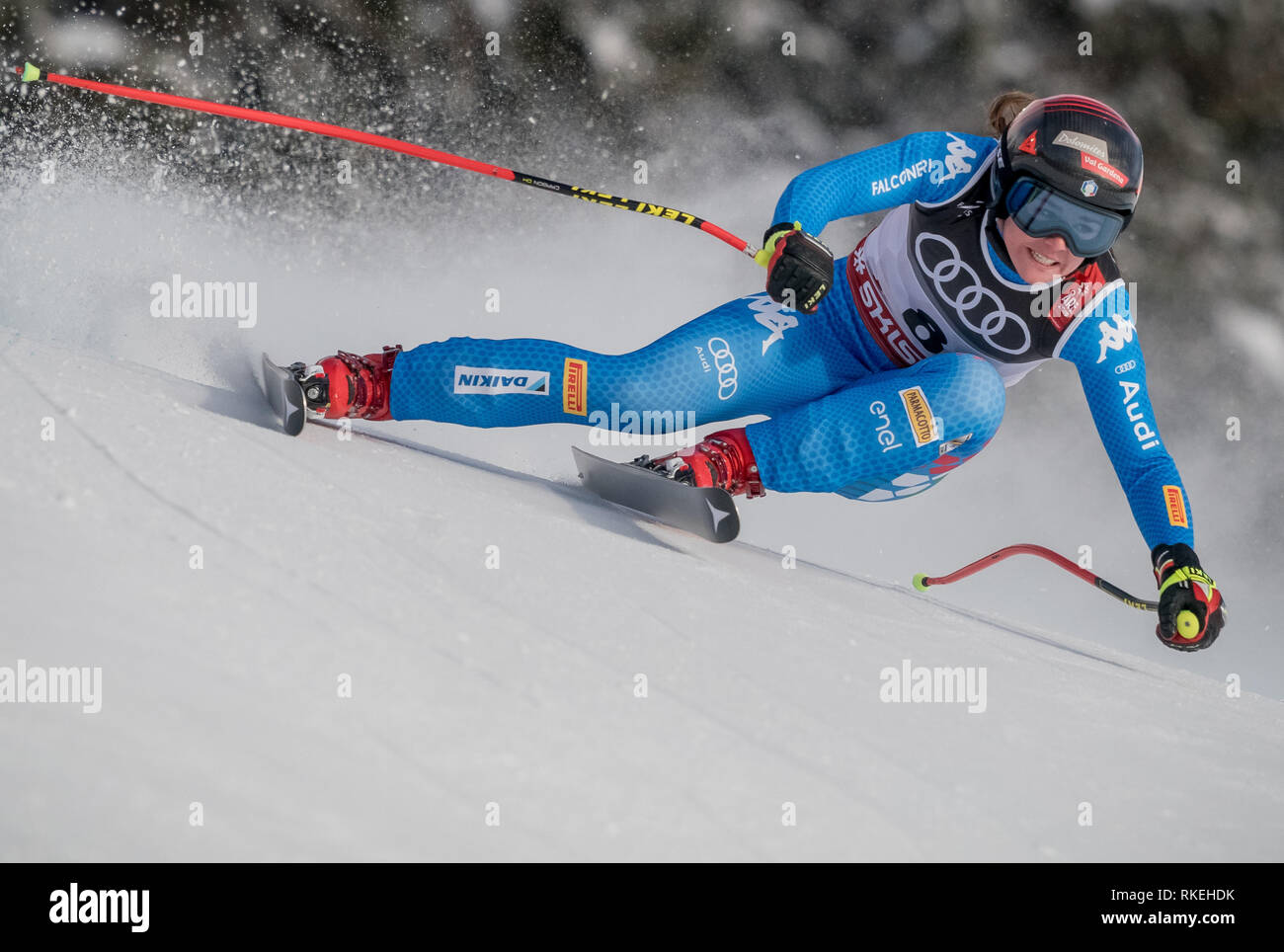 Are, Sweden. 10th Feb, 2019. Alpine skiing, world championship, downhill, ladies: Nicol Delago from Italy on the racetrack. Credit: Michael Kappeler/dpa/Alamy Live News - Stock Image