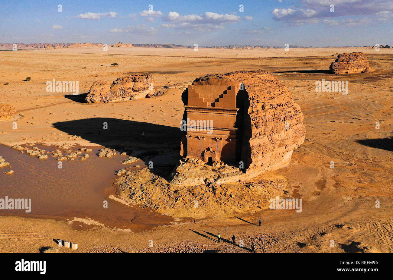 Al Ula, Saudi Arabia. 10th Feb, 2019. AL-ULA, SAUDI ARABIA - FEBRUARY 10, 2019: Madain Saleh, a UNESCO World Heritage site, in Medina Region. Valery Sharifulin/TASS Credit: ITAR-TASS News Agency/Alamy Live News - Stock Image