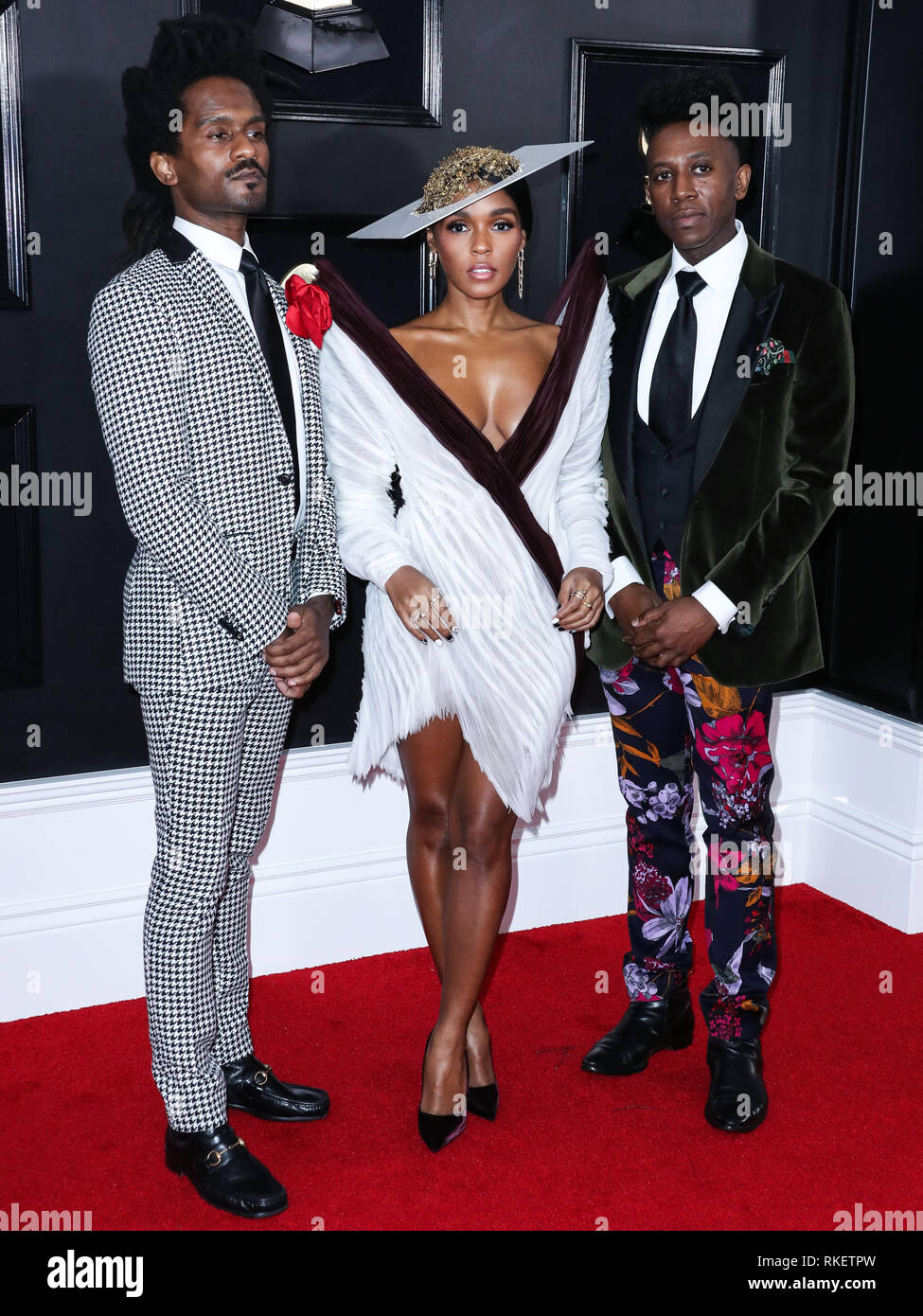 03a422336b2 LOS ANGELES, CA, USA - FEBRUARY 10: Nate 'Rocket' Wonde, Janelle Monae and  Chuck Lightning arrive at the 61st Annual GRAMMY Awards held at Staples  Center ...