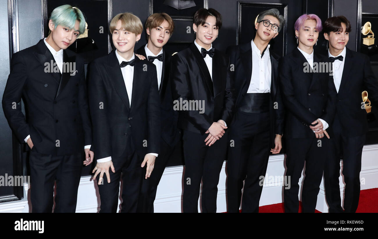 los angeles united states 10th feb 2019los angeles ca usa february 10 jin suga j hope rm jimin v and jungkook of bts rm jin jimin v jungkook and suga are wearing jaybaekcouture j hope is wearing kimseoryong arrive at the 61st annual grammy awards held at staples center on february 10 2019 in los angeles california united states photo by xavier collinimage press agency credit image press agencyalamy live news RKEW6D
