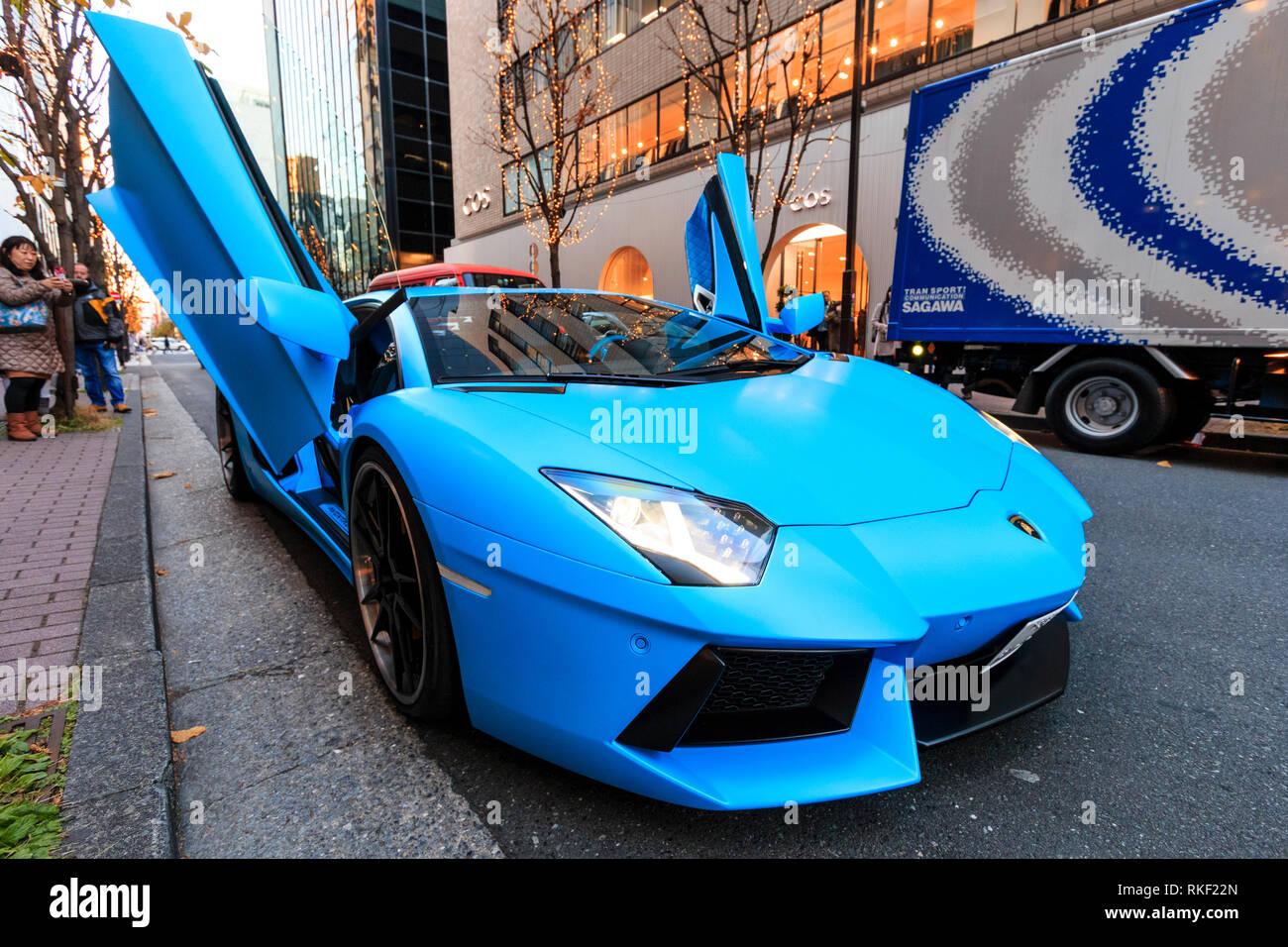 Light Blue Lamborghini Aventador Roadster High Performance Super