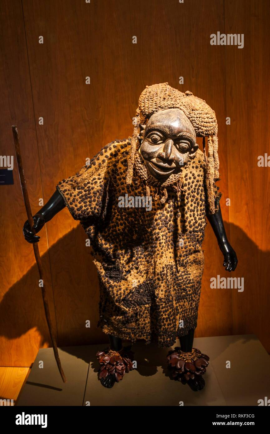 Santa Cruz Palace, Alberto Jimenez-Arellano Alonso, University of Valladolid, African Art Collection, Leader Kam Mask, Kingdom of Oku, Valladolid, - Stock Image