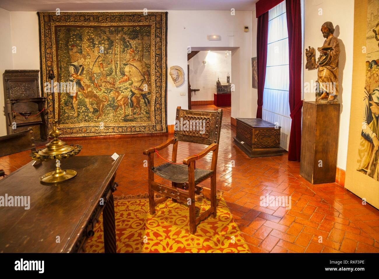 Armchair of the Devil, 16th century, Museum of Valladolid, Fabio Nelli de Espinosa Palace, Valladolid, Castilla y Leon, Spain - Stock Image