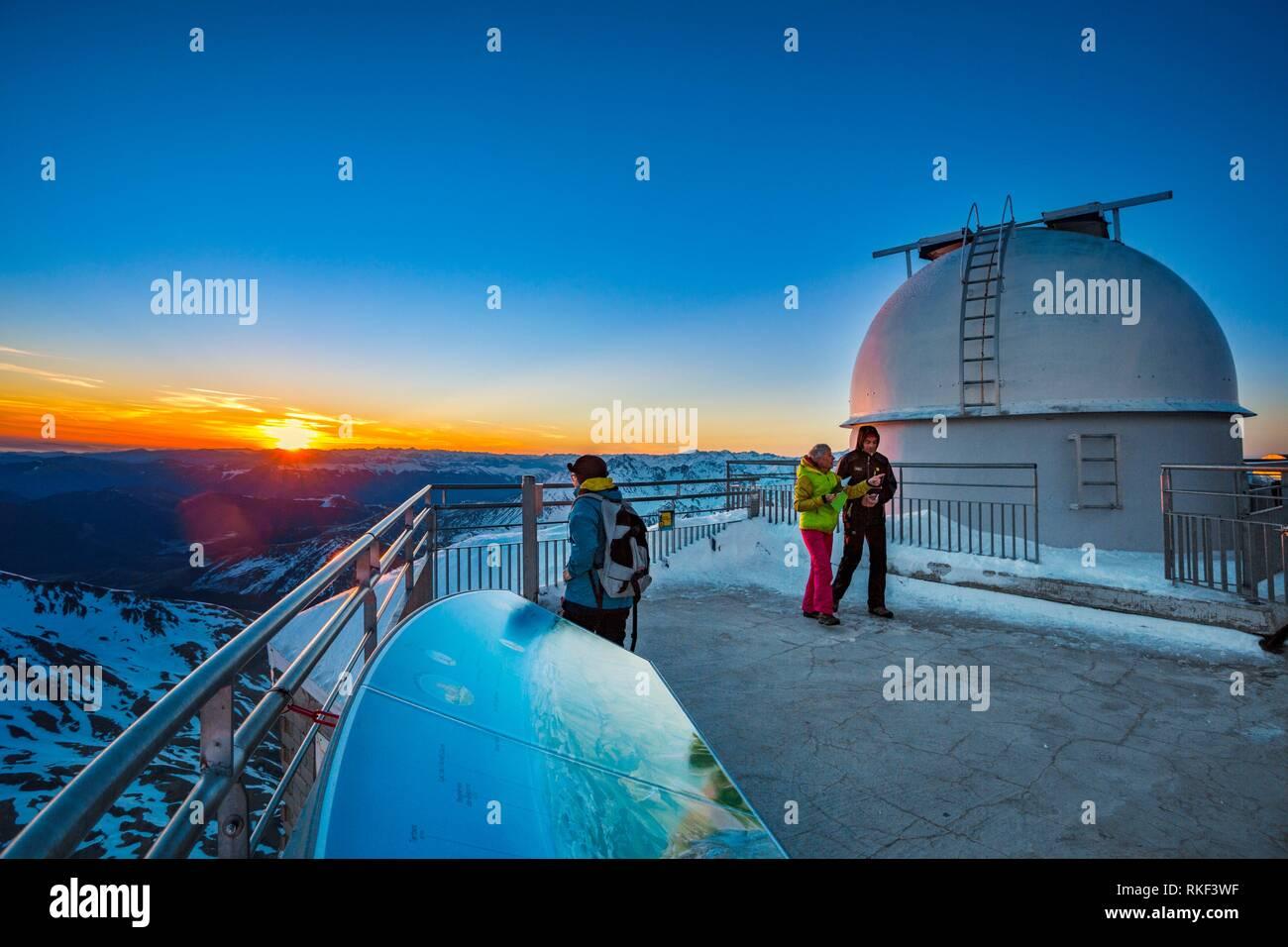 Pic du Midi de Bigorre. Pic du Midi observatory. Luz-Saint Sauveur. Hautes-Pyrenees Department. Midi-Pyrenees Region. France. - Stock Image