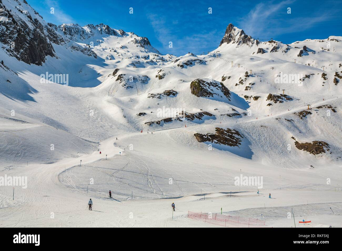 Luz Ardiden. Ski resort. Luz-Saint Sauveur. Hautes-Pyrenees Department. Midi-Pyrenees Region. France. - Stock Image