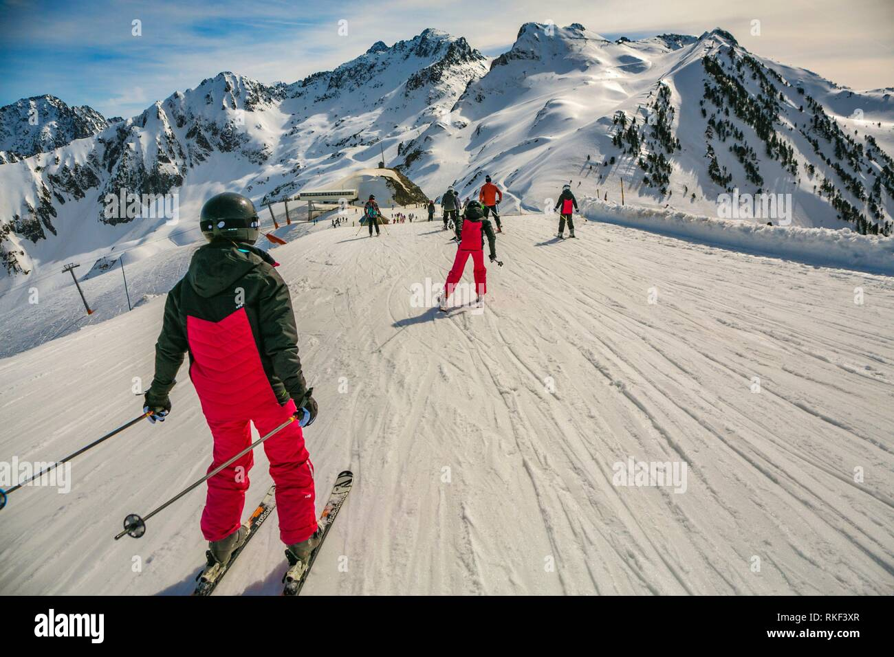 Luz Ardiden. Ski resort. Luz-Saint Sauveur. Hautes-Pyrenees Department. Midi-Pyrenees Region. France. Stock Photo