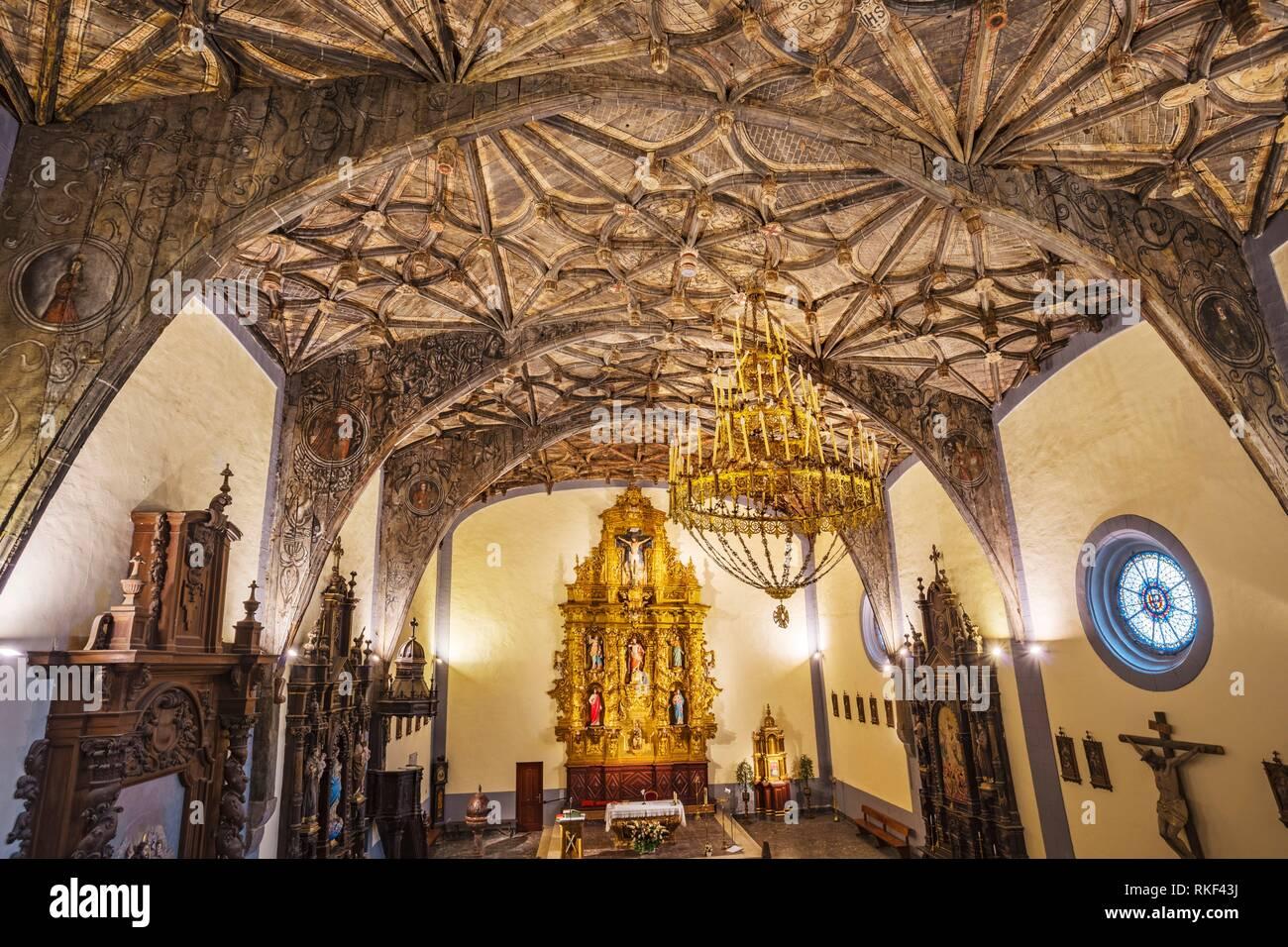 Wood Vault, 16th century. San Andres Church. Ibarrangelu. Urdaibai Region. Bizkaia. Basque Country. Spain. - Stock Image