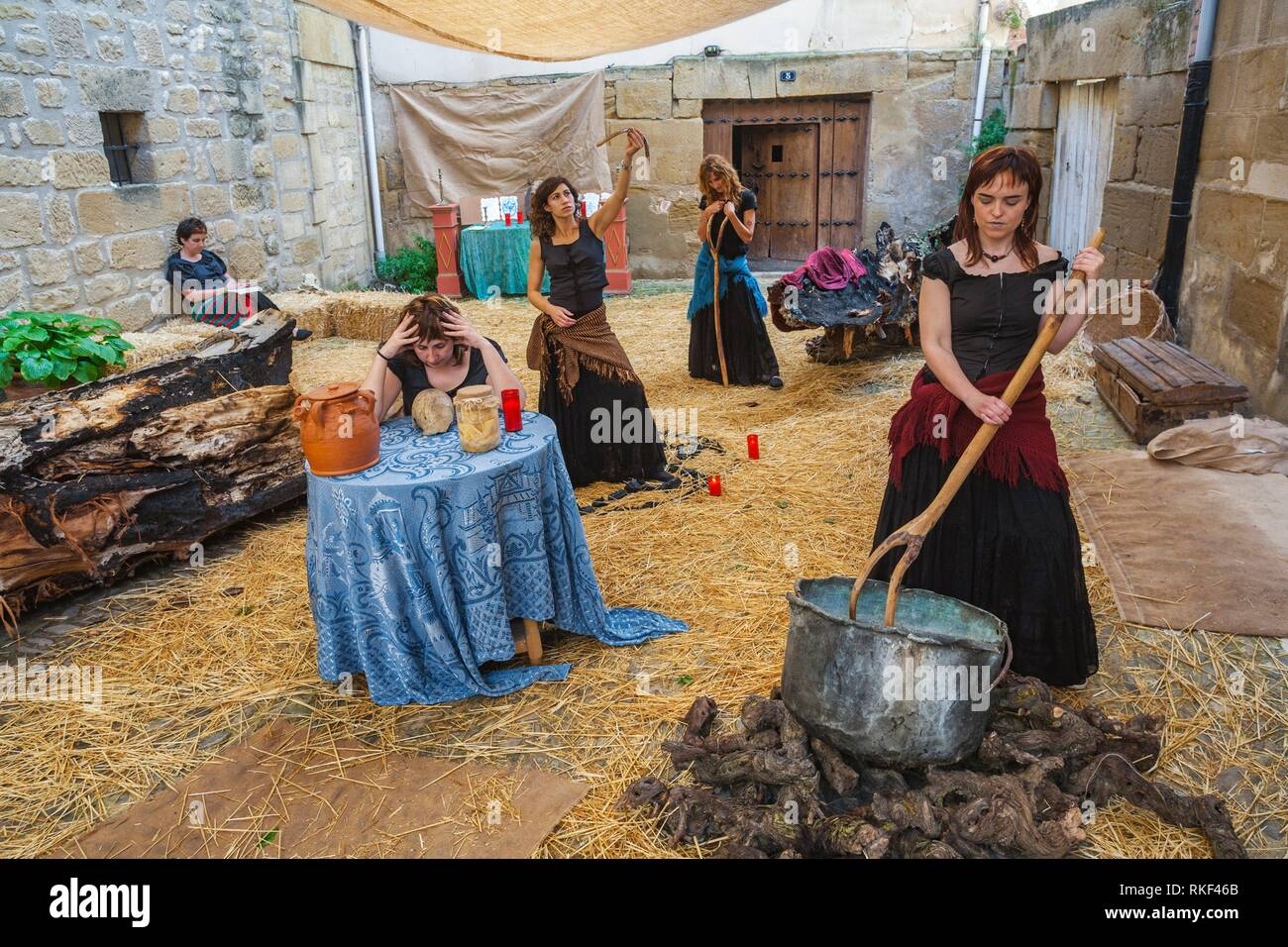 Witchcraft. Historical reenactment of the life of a Castilian town in the 14th century. Medieval Festival. Briones. La Rioja. Spain - Stock Image
