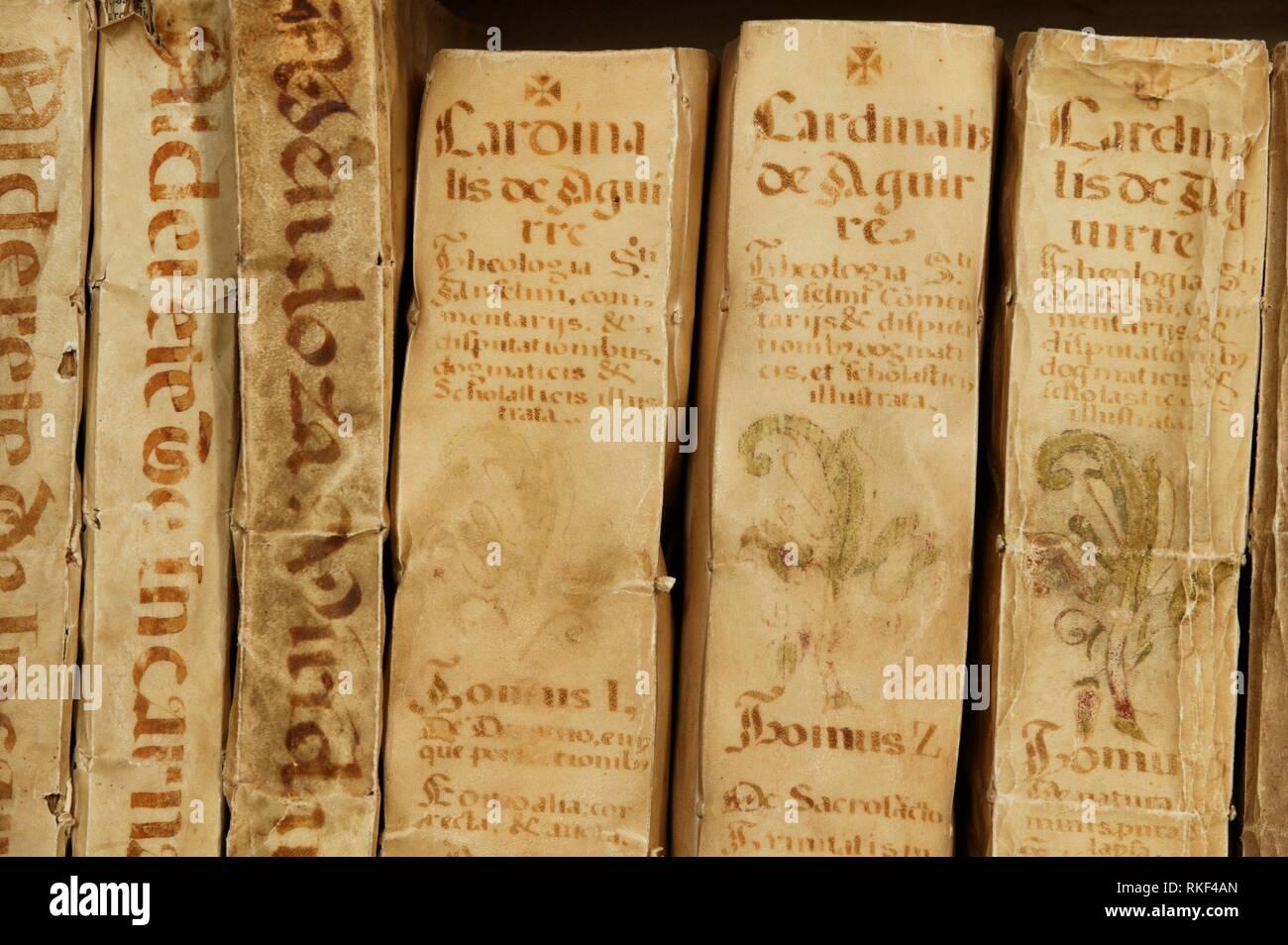 13th century codex in Yuso monastery. San Millan de la Cogolla. La Rioja. Spain. Way to Santiago. Spain. - Stock Image