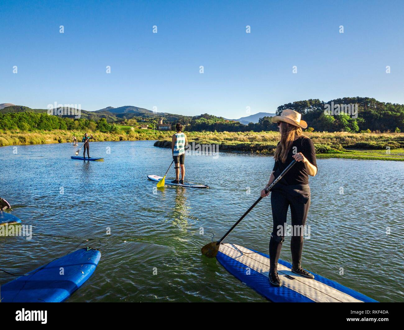 Stand up Paddle Surf (SUP) in Urdaibai Estuary. Urdaibai Biosphere Reserve. Biscay, Basque Country, Spain. - Stock Image