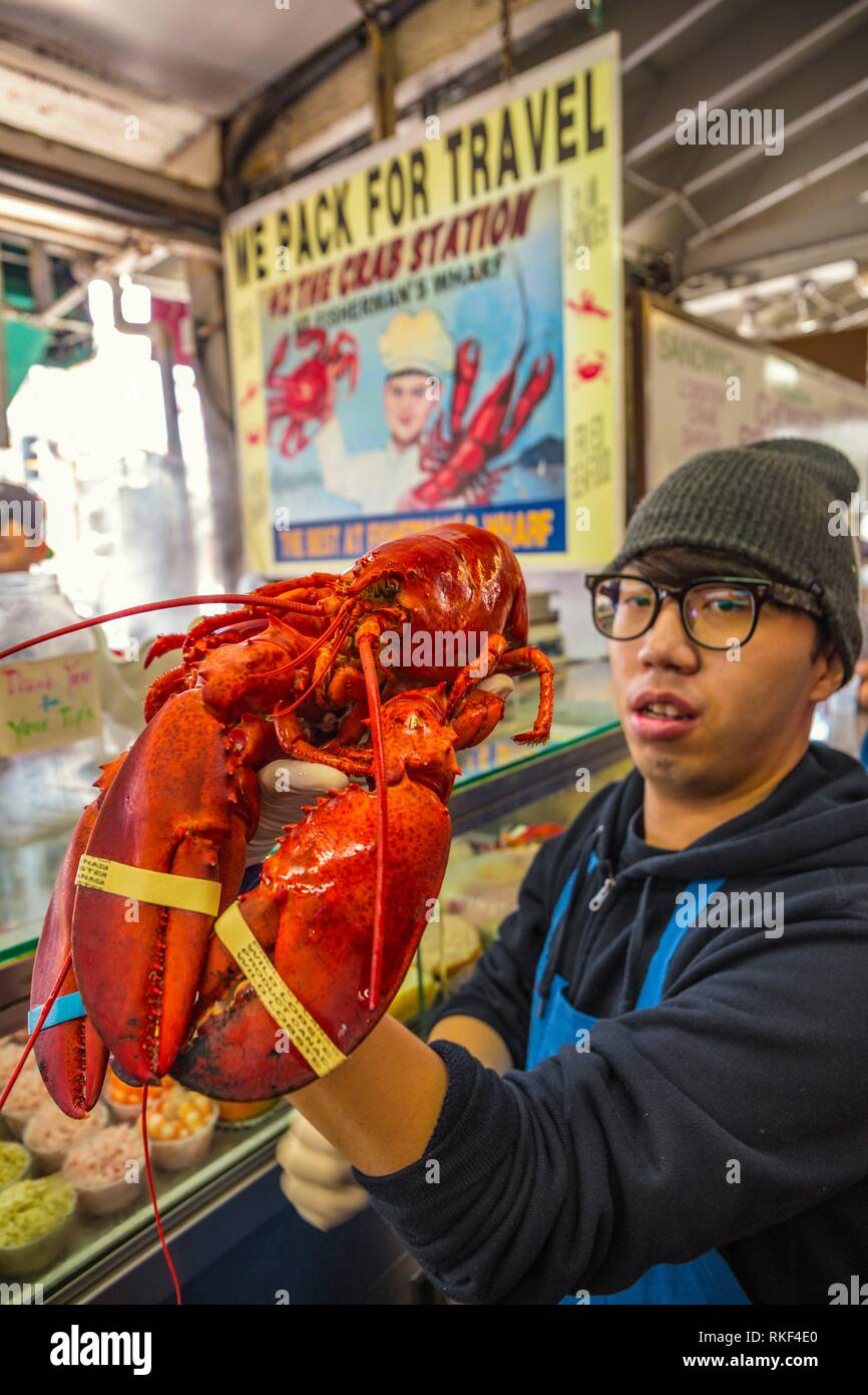 Crabs, typical food. Fisherman Wharf neighborhood. San Francisco. California, USA - Stock Image