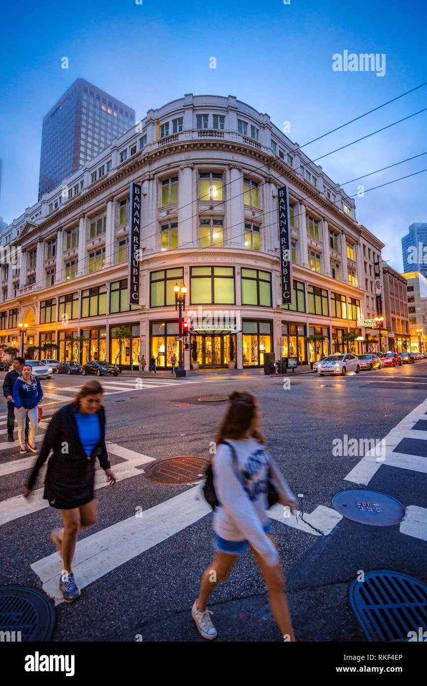 Grant Avenue around Union Square. San Francisco. California, USA - Stock Image