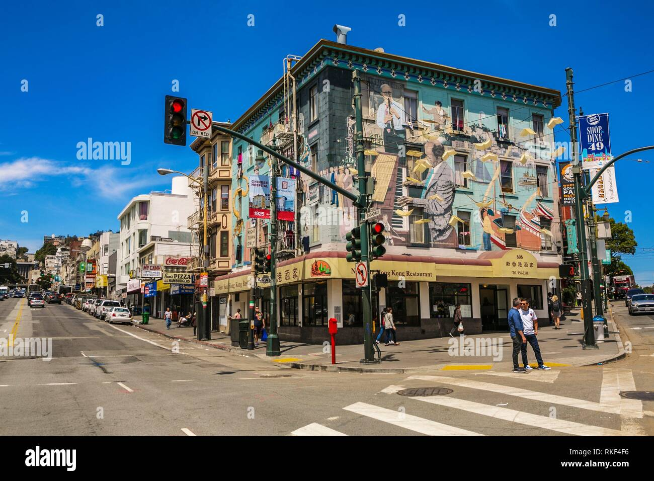 Intersection between Broadway and Columbus avenue. Little Italy. North Beach neighbourhood. San Francisco. California, USA - Stock Image