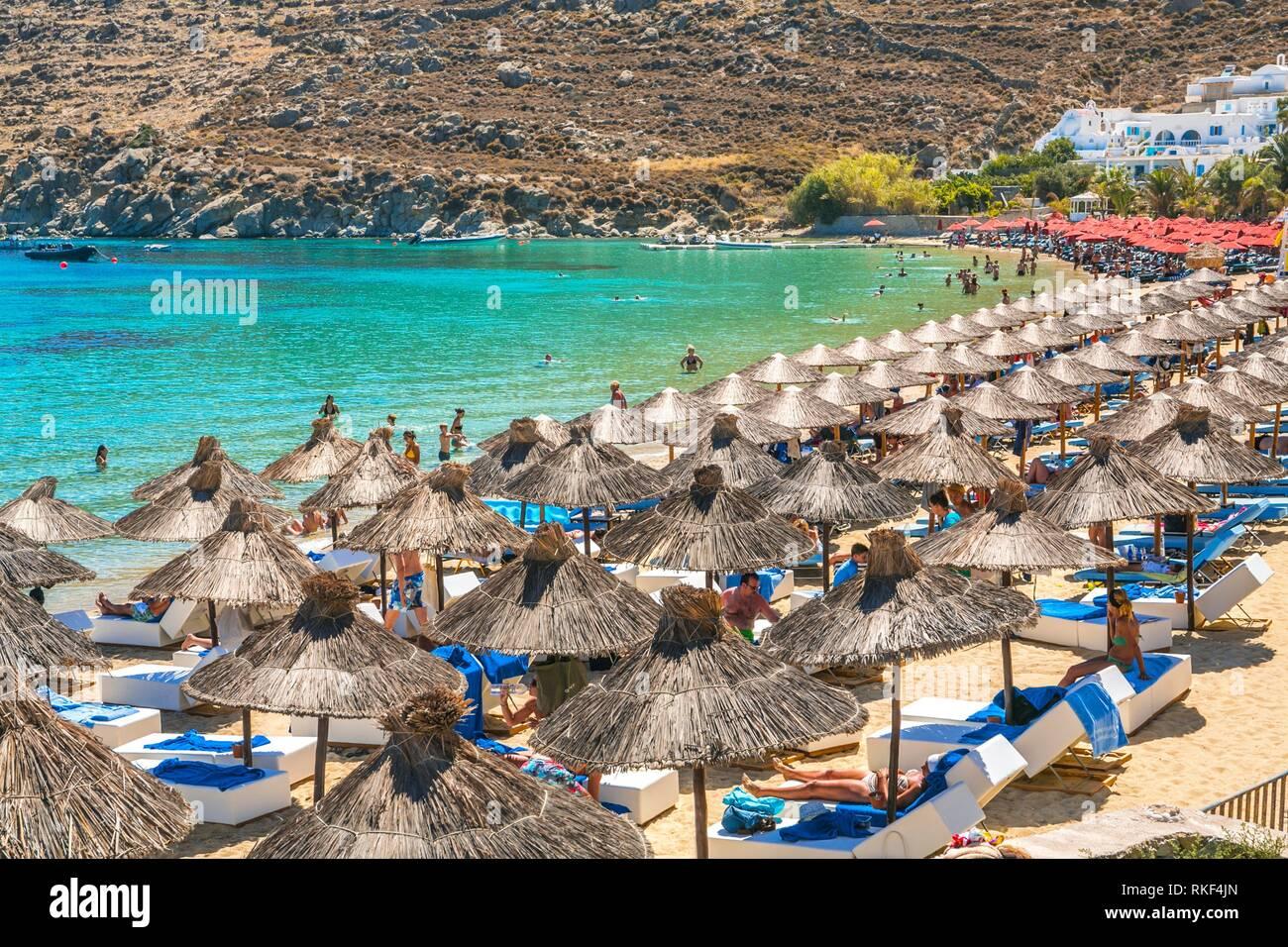 Best Island Beaches For Partying Mykonos St Barts: Greece And Beach Mykonos Stock Photos & Greece And Beach