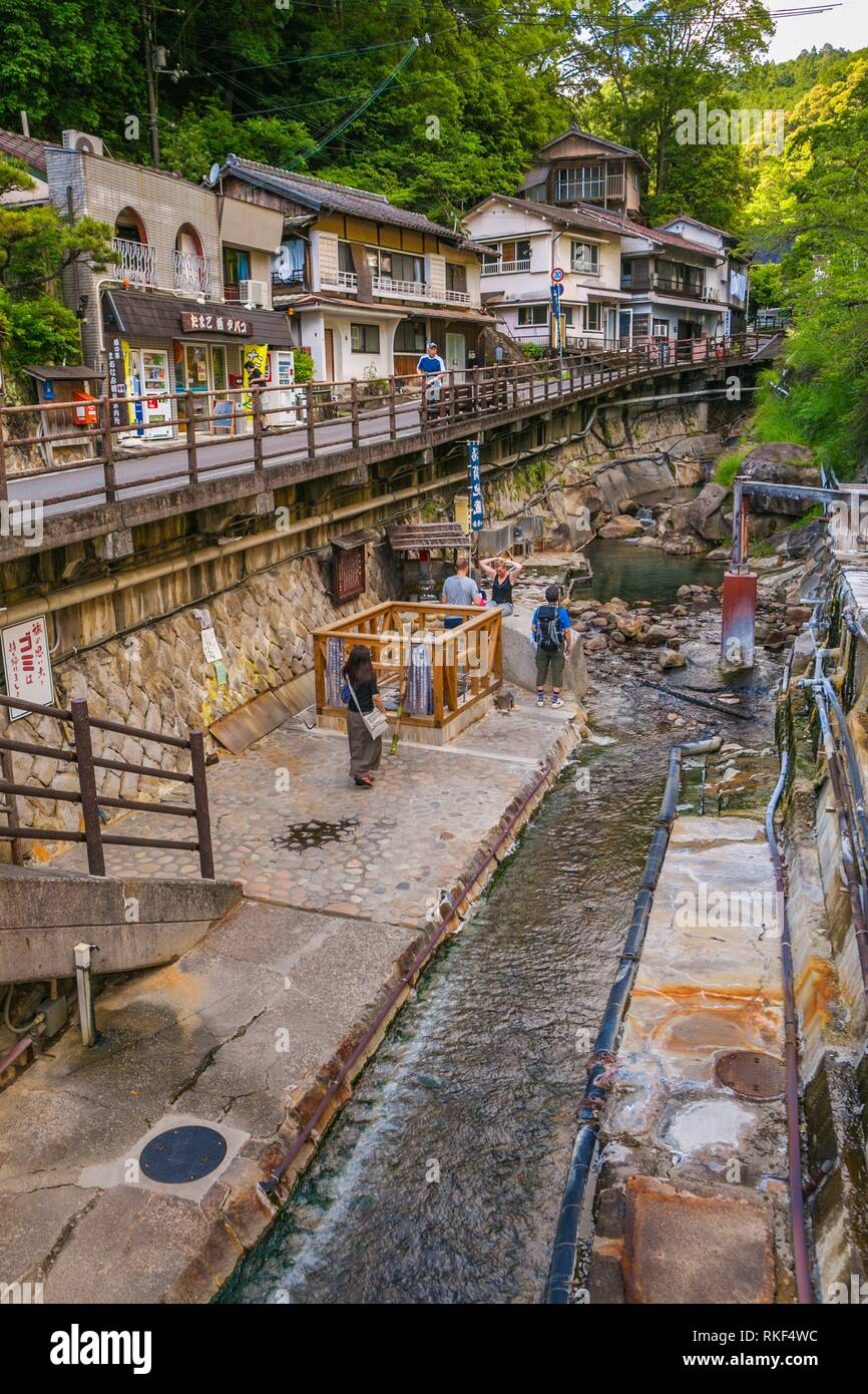 Kumano Kodo pilgrimage route. On the left Yuzutsu, onsen cooking. Public cooking onsen where locals and visitors boil vegetables and eggs. Yunomine - Stock Image