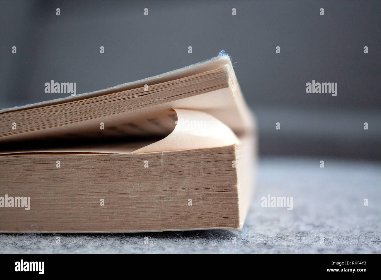 A dog eared paperback on a light background. - Stock Image