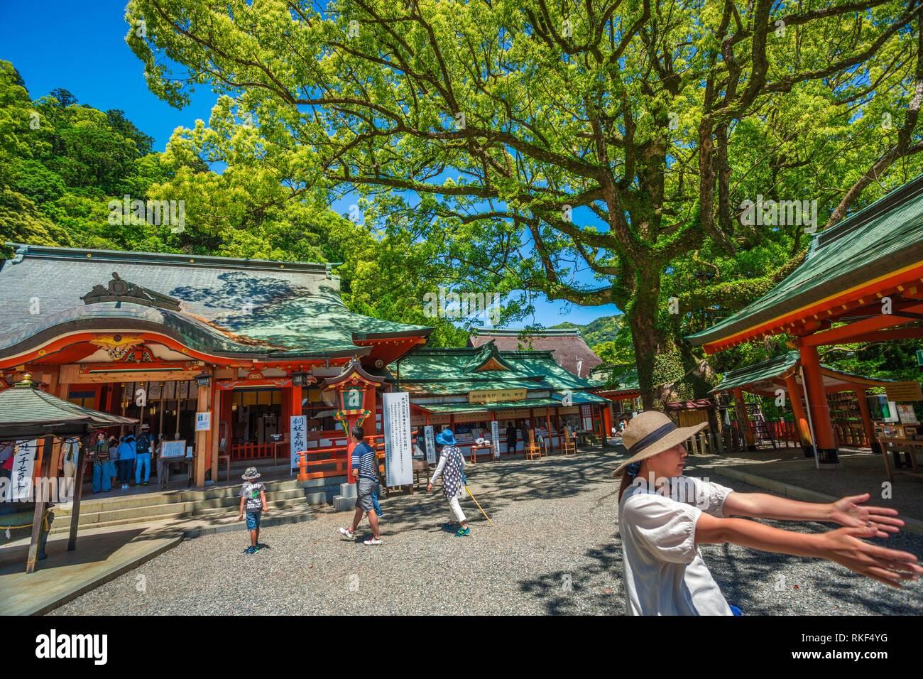 Kumano Kodo pilgrimage route. Kumano Nachi Taisha Grand Shrine. Is an example of Buddhist and Shinto. Nachisan. Nakahechi route. Wakayama Prefecture. - Stock Image