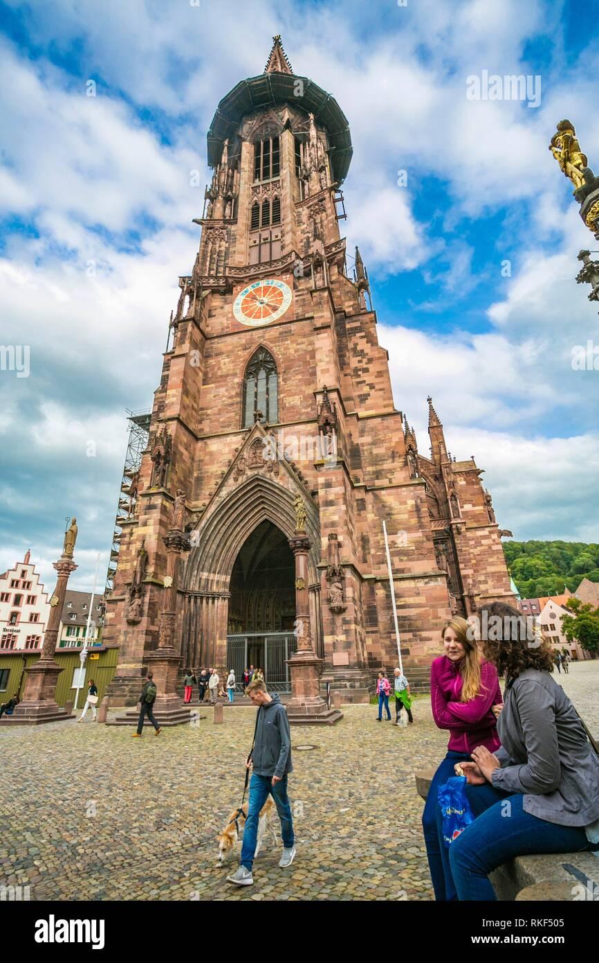 Freiburg Minster. Cathedral. Freiburg. Freiburg im Breisgau. Black Forest. Baden Wurttemberg. Germany - Stock Image