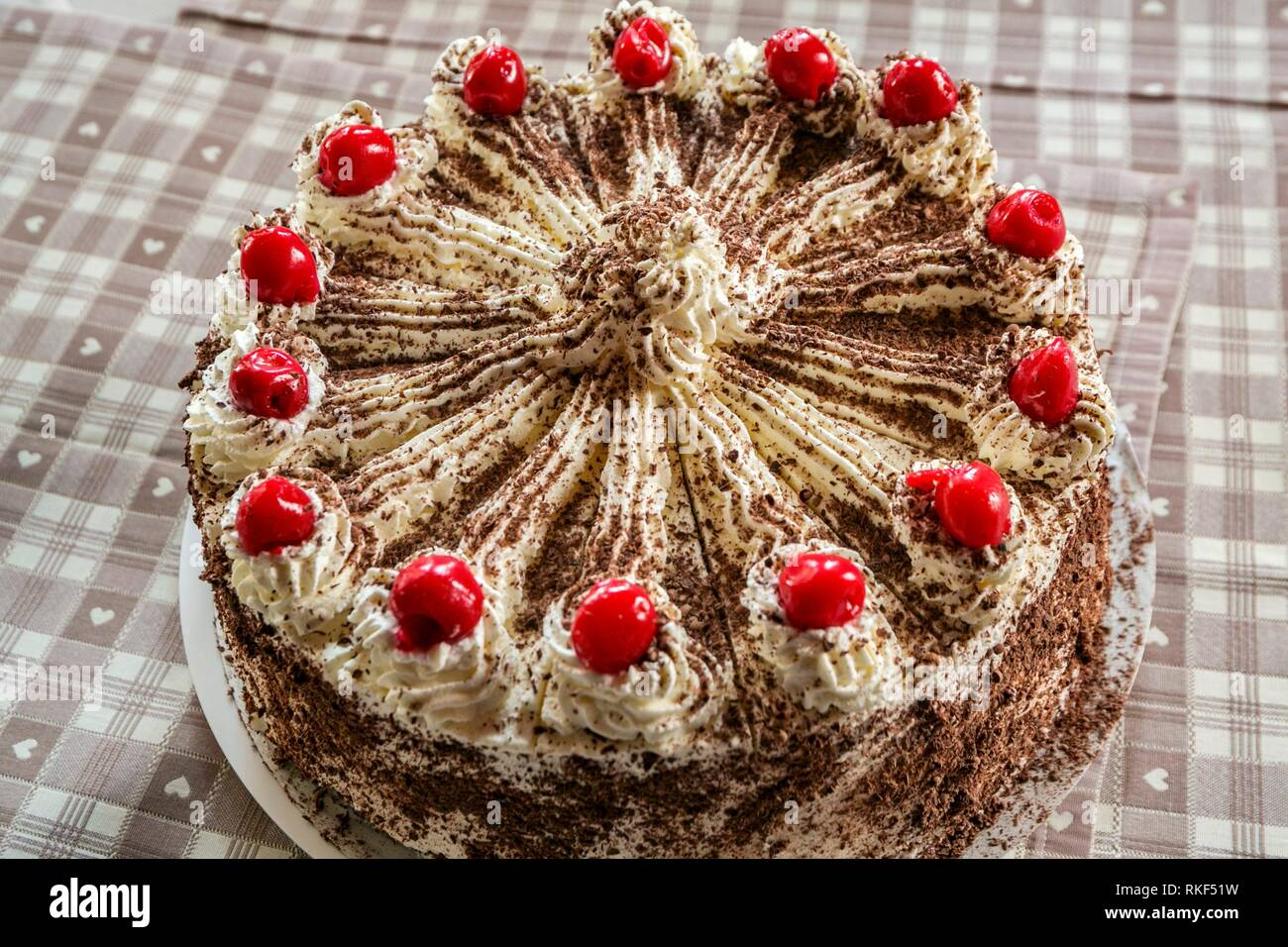 Black Forest gateau. Typical dessert. Waldeck restaurant. Menzenschwand. Black Forest. Baden Wurttemberg. Germany. Europe - Stock Image