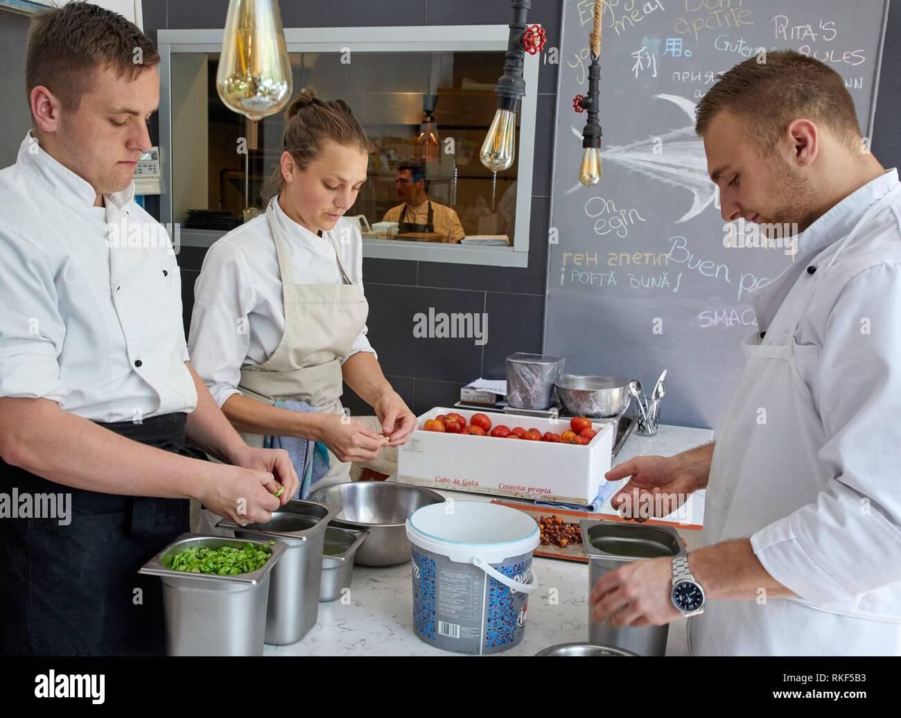 Kitchen, Restaurante Rita, Gastronomic tour, Donostia, San Sebastian, Gipuzkoa, Basque Country, Spain, Europe - Stock Image
