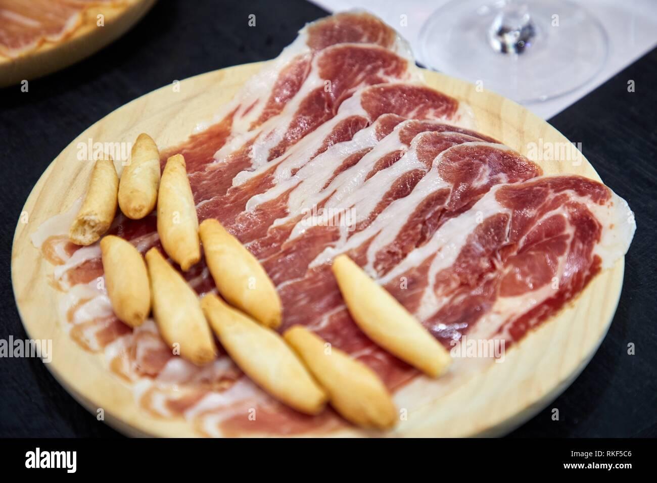 Tasting of ham, Charcuterie, Gastronomic tour, Donostia, San Sebastian, Gipuzkoa, Basque Country, Spain, Europe - Stock Image
