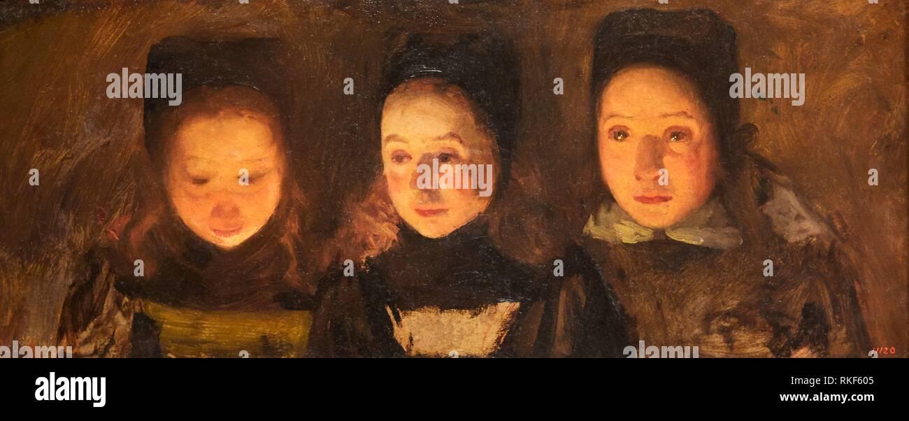 '''Trio (study of heads)'', c. 1900, Charles Cottet, National Museum of Catalan Art, Museu Nacional d Art de Catalunya, MNAC, Barcelona, Spain, Europe - Stock Image