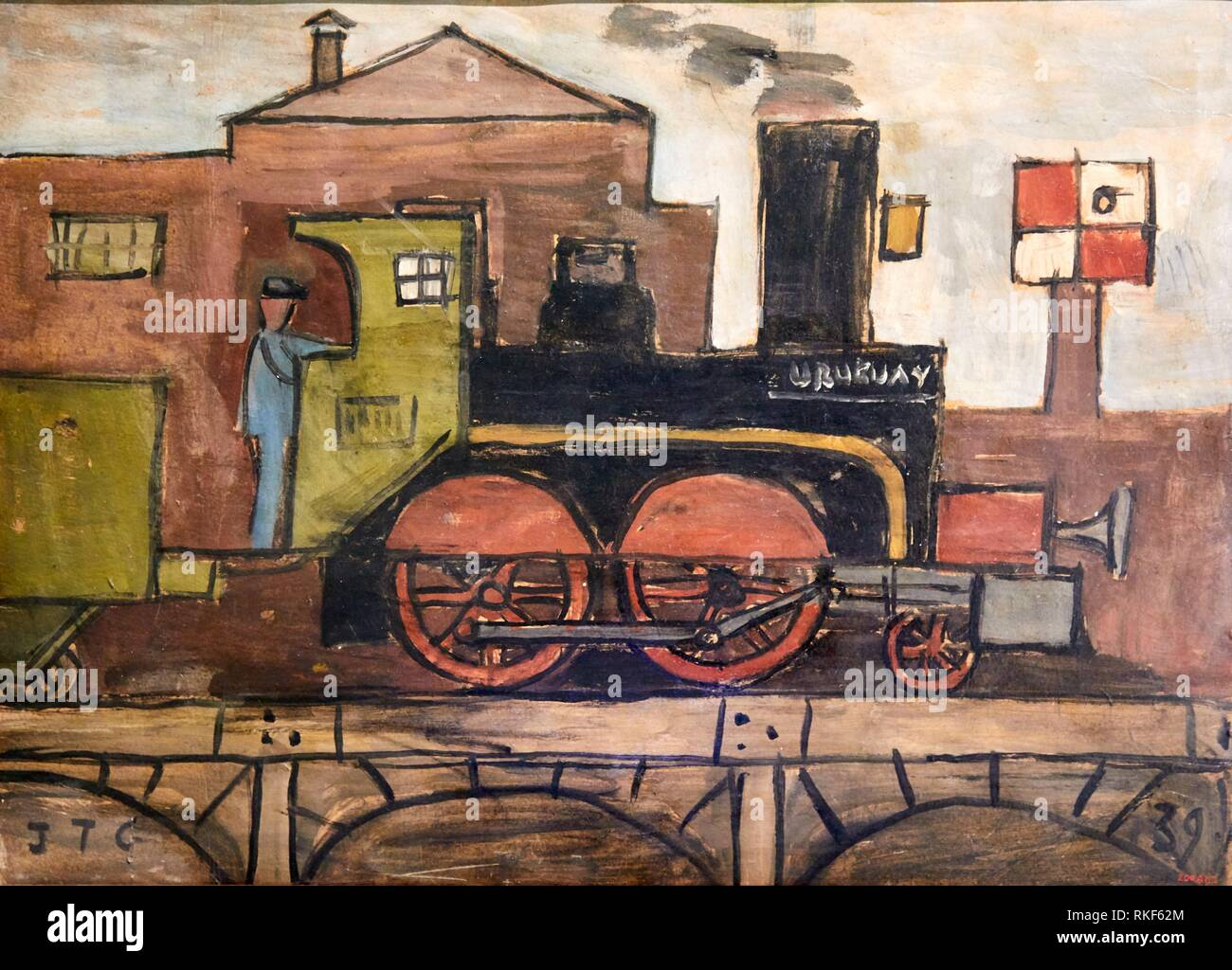 '''Uruguay'', 1939, Joaquim Torres-Garcia, National Museum of Catalan Art, Museu Nacional d Art de Catalunya, MNAC, Barcelona, Spain, Europe - Stock Image