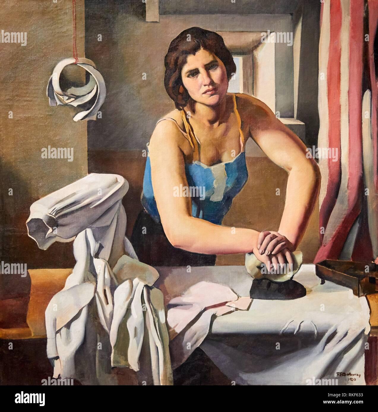 '''Woman Ironing'', 1930, Roberto Fernández Balbuena, National Museum of Catalan Art, Museu Nacional d Art de Catalunya, MNAC, Barcelona, Spain, - Stock Image