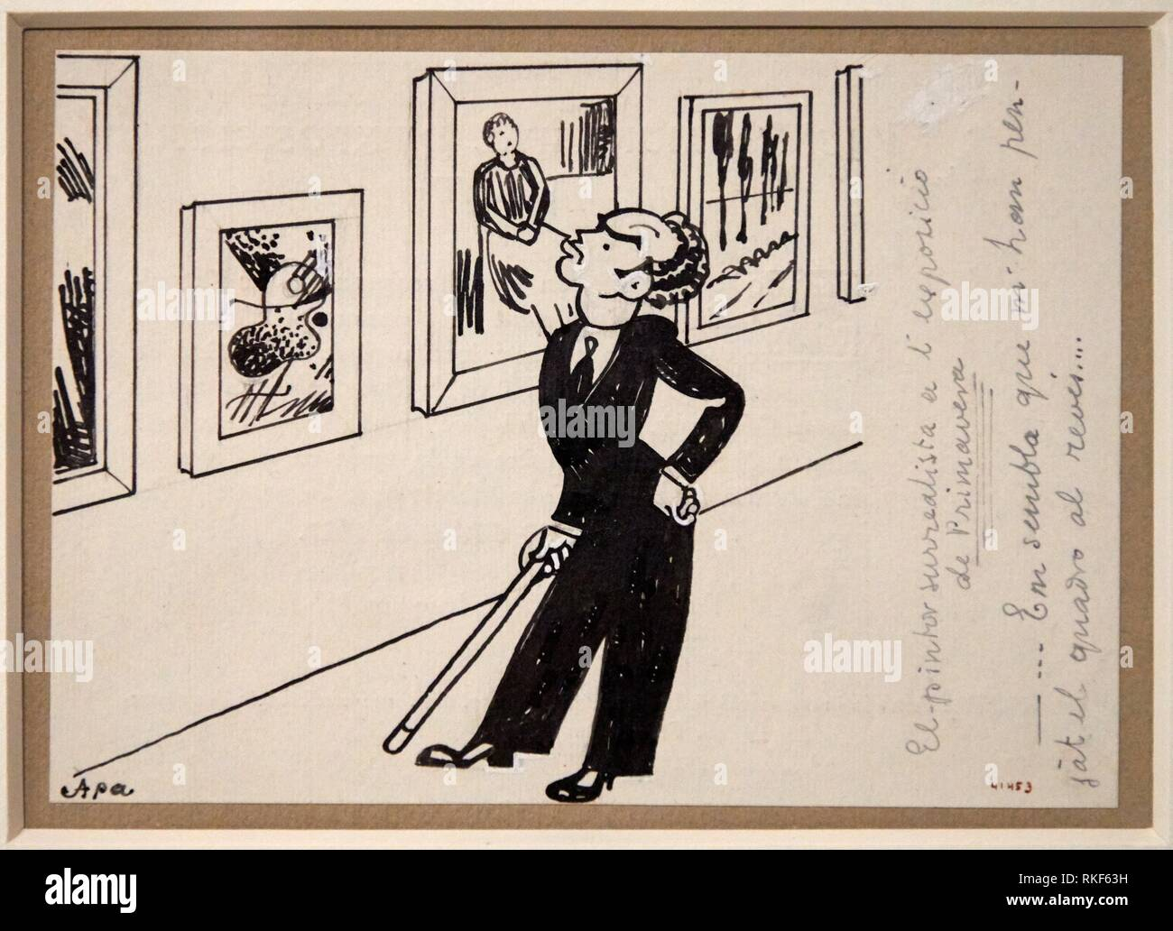 '''The Surrealist Painter at the Spring Exhibition'', 1935, Feliu Elias, National Museum of Catalan Art, Museu Nacional d Art de Catalunya, MNAC, - Stock Image